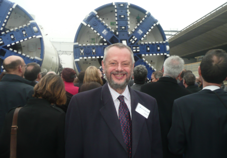Photo shows Ian Brown at the early stages of construction of Crossrail, a project that he was heavily involved in promoting. Upon retirement he became a Railfuture Vice President and subsequently a Railfuture Director