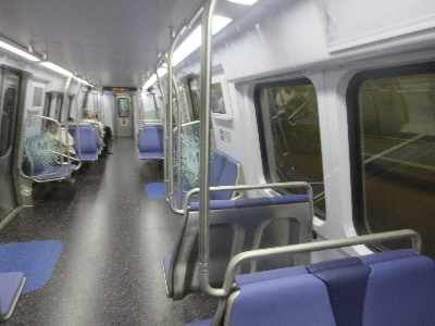 [Washington DC]Washington DC Metro train interior design for the passenger - shows the latest interior new trains built by Kawasaki