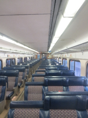 [Washington DC]Interior of traditional Maryland Area Transit (MARC) commuter train carriage used on off-peak services and also to strengthen bilevel trains