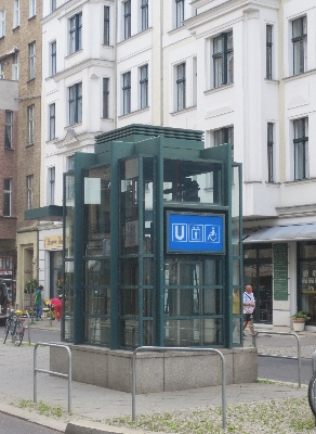 [Berlin]Wheelchair access lift directly from street to sub-surface platform. A cost effective solution on systems without ticket barriers. Vienna has similar lifts