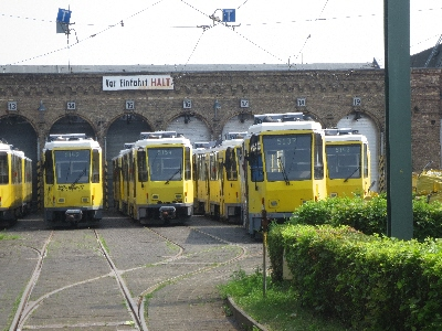 [Berlin]The old eastern bloc Tatra trams are rapidly being replaced by the new Flexity trams. The picture shows these being lined-up in the depot at Pankow prior to disposal