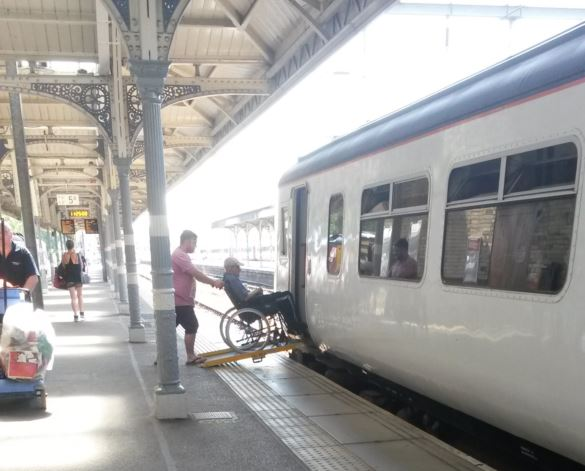 Norwich station staff were on-hand to place a ramp between the platform and train door to allow a wheelchair user to board the train