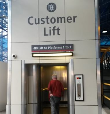 Often passengers struggle up and down stairs and ramps because they cannot see the lift or bother to find out where it is. There's no excuse at Carlisle station where the sign could not be better – not a bad idea when visibility is obscured by roof restoration work