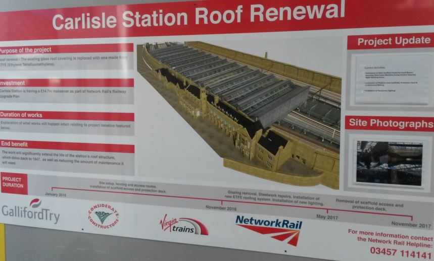 Carlisle station has a classic-style glass roof that will be fully renovated and last for many decades. It is important to explain what is happening to station users. This easy-to-find sign keeps passengers informed of what will be happening and the benefit to them