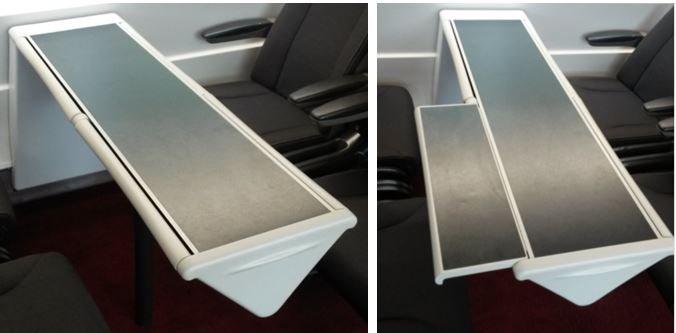 [Eurostar]The new Eurostar e320 trains have a different type of table extension, which is pulled out of the triangular base of the table. It is better than the ones on the e300 trains as the table is fully usable without opening out the extension