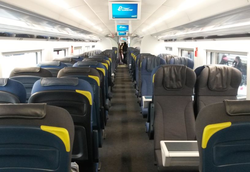 [Eurostar]Just like the older e300 trains, Standard Class has two-plus-two-seating throughout on its new Eurostar e320