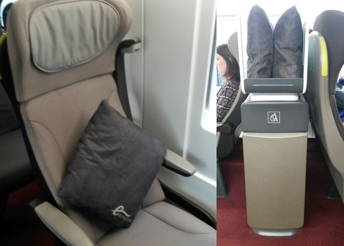 [Eurostar]The new Eurostar e320 trains have a few cushion/pillows that passengers in Standard Premier Class can use