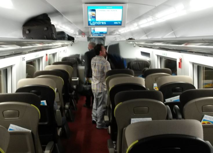 [Eurostar]The new Eurostar e320 trains have higher ceilings with wider and stronger overhead luggage racks than the e300 trains to support larger items of luggage