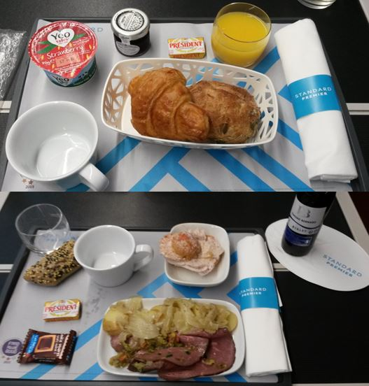 [Eurostar]Eurostar offers basic, light, complimentary meals to Standard Premier Class passengers. This photo shows breakfast (top) and dinner (bottom)