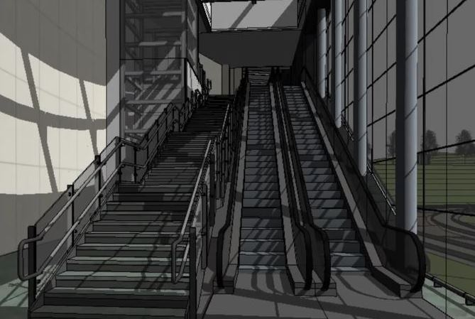 [Edinburgh Gateway]Railfuture campaigns for ease of moving around stations and space to avoid overcrowding and queues.  Edinburgh Gateway has two escalators (one going up, one down) and stairs