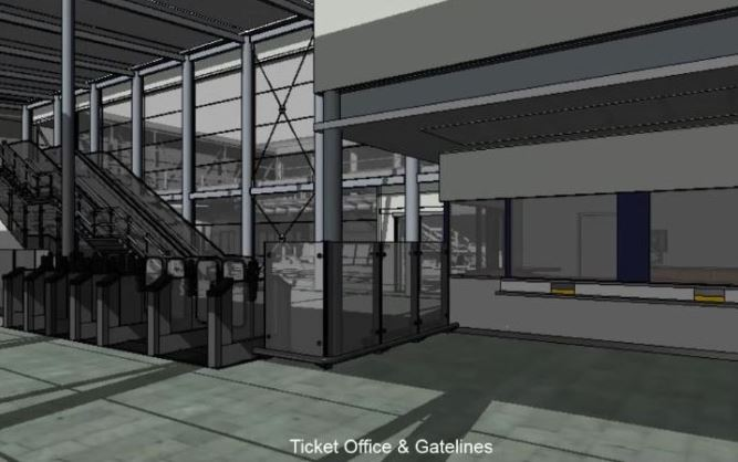 [Edinburgh Gateway]Railfuture campaigns for ease of moving around stations and space to avoid overcrowding and queues.  Edinburgh Gateway has six ticket barriers, two of which are wide.  The ticket office windows are nearby but need separate staff
