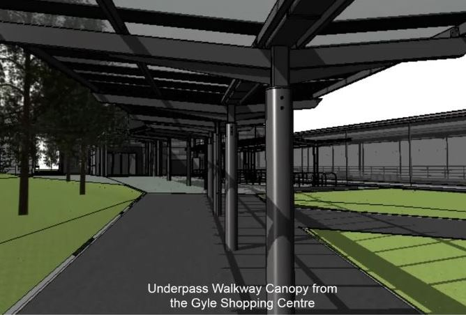 [Edinburgh Gateway]Railfuture campaigns for high-quality protection from the rain and wind. There is a continuous canopy along the walking route between the Gyle Shopping Centre and Edinburgh Gateway station