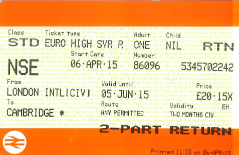 Example of a Euro High-Saver ticket that includes the CIV guarantee of a connection onto Eurostar without additional payment if a train on Britain's rail network is delayed or cancelled resulting in the passenger missing their Eurostar train. Example of Cambridge to London