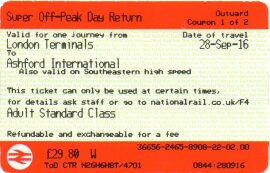 Example of a super off-peak day return 'tangerine' ticket between London Terminals and Ashford International valid on the HS1 route