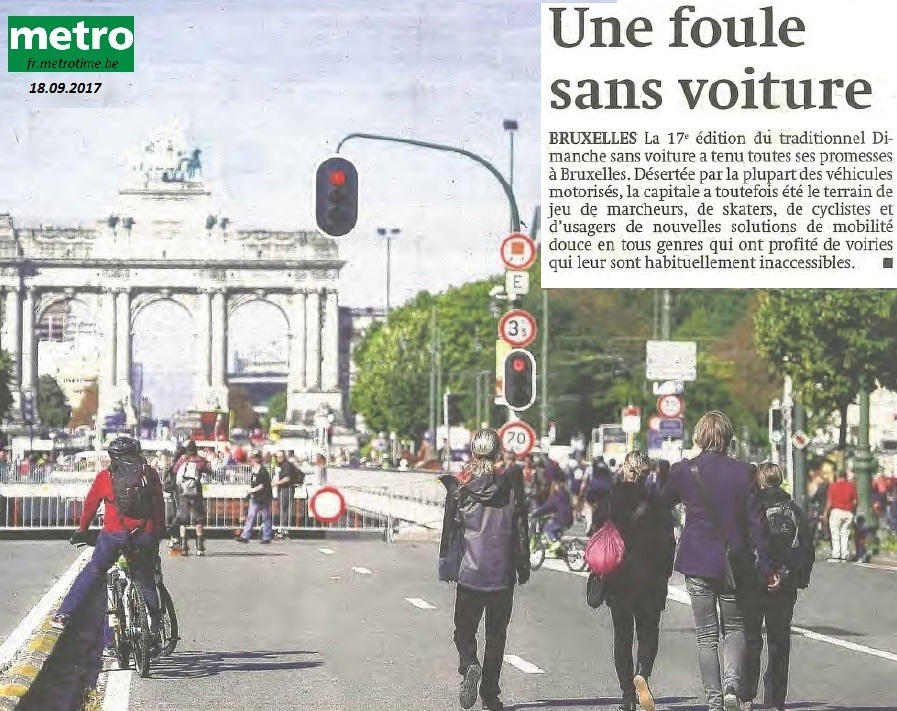 On Sunday 17 September 2017 the 17th annual car-free day was held in Brussels. This attempt to encourage people to use public transport rather than their car was covered on the front page of the free Metro newspaper the following day