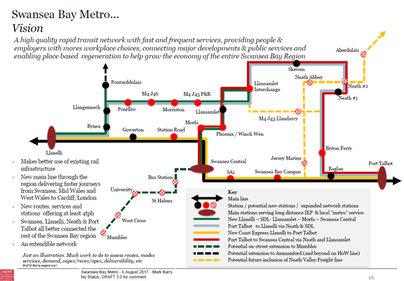 Vision for a Swansea Bay Metro proposed by Professor Barry of Cardiff University