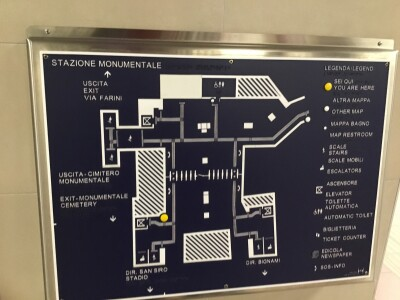 [Milan]Concourse Braille way-finding sign at the Monumentale metreo station in Milan