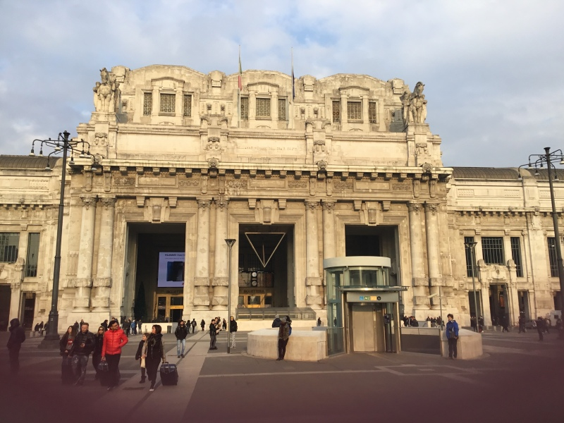 [Milan]Milan Central main line station showing adaption to provide mobility impaired lift from ground level outside the station entrance to the Metro platforms below