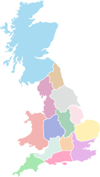 Map of Great Britain divided up in to the 12 English and two national Railfuture branches. First used in the Railfuture Annual Review 2017