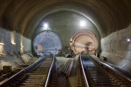 Permanent track installed between Stepney Green and Pudding Mill Lane.  Image Crossrail