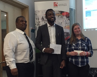 Award winners Onyeke Okeke (centre) and Alexandra Istrati (right)