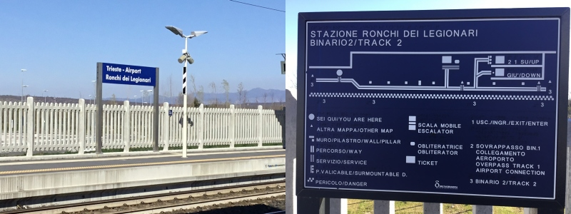 Trieste Airport is a good example of Italian Railways and Metro operators providing good signage using Braille
