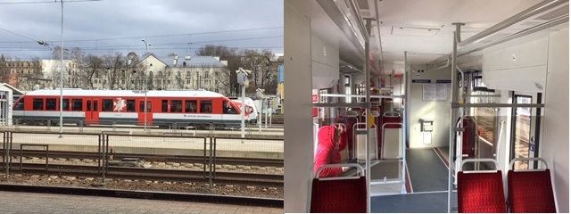 The new Vilnius rail link Pesa rail car, as also supplied to Kiev