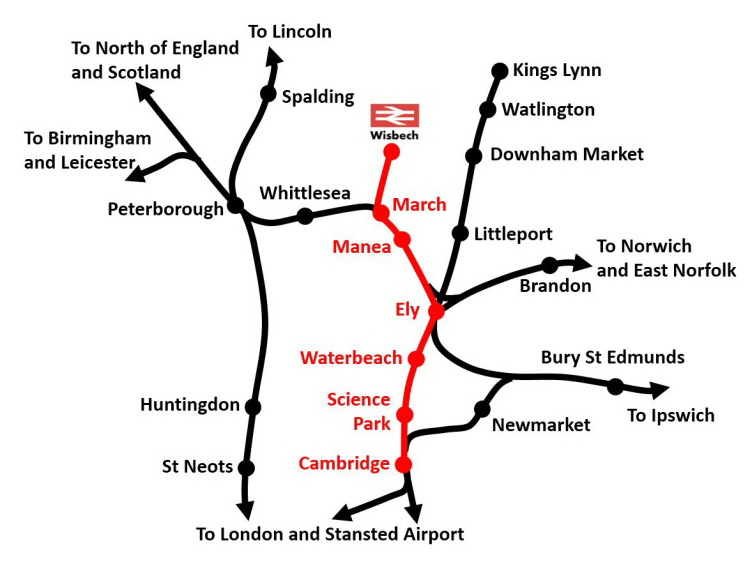 Railway route map produced by Railfuture showing how a reopened March-Wisbech railway line would connect with Peterborough, Ely, Cambridge and many other destinations