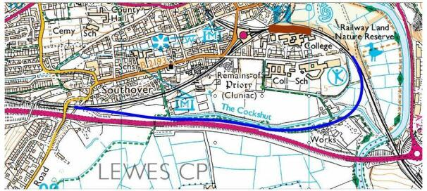 Map showing the location of a possible loop around Lewes