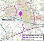 Map showing route of the former railway Skelmersdale branch line that once served a station in Skelmersdale