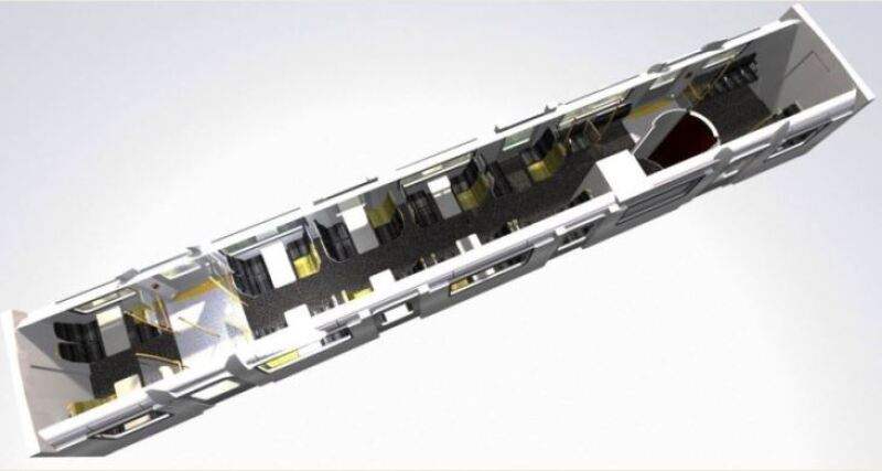 3D computer generated image of a former London Underground D-Stock carriage that Vivarail plans to convert into the new D Train