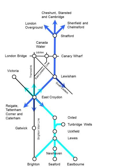 Diagrammatic map of proposed Thameslink 2, which Railfutute is promoting and has commissioned a consultant to make a case fr it