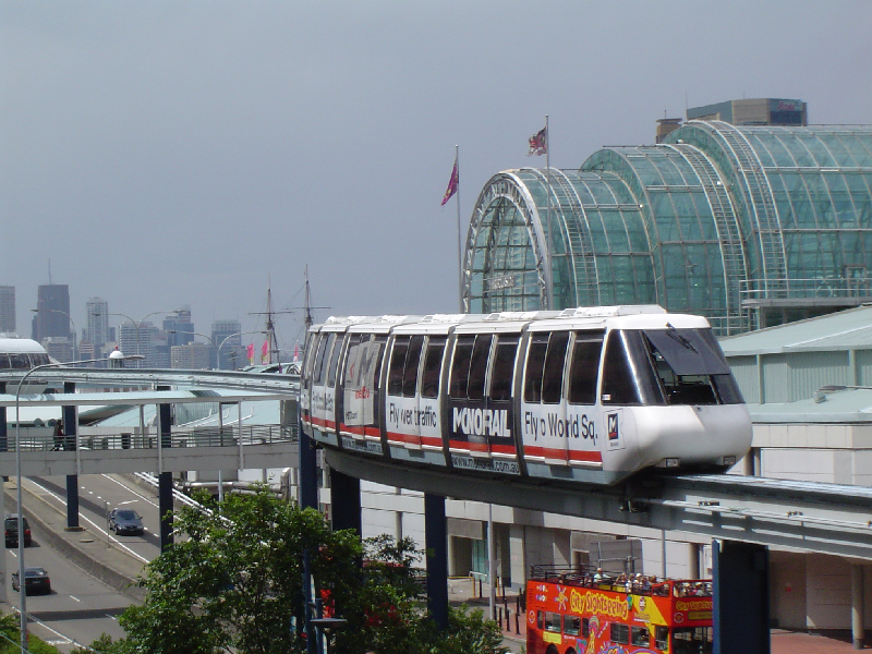 Photo of a vehicle on the Sydney Monorail, which operated from 1988 until 2013