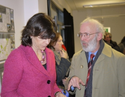 Railfuture's Roger Blake briefs rail minister Claire Perry at the Hastings Rail Summit on its campaign to reinstate the Uckfield-Lewes line and its proposed Thameslink 2 concept