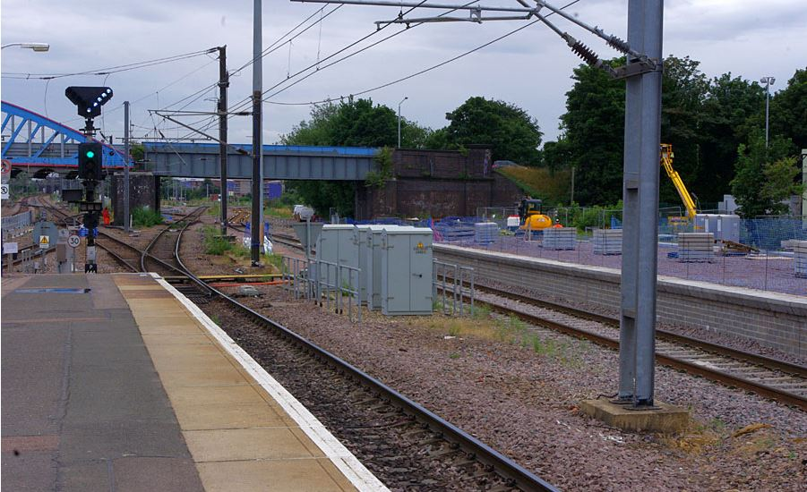 One of the new Platforms completed on the right but not yet in use. A new curve route for the Cambridge and Norwich Trains looking South, signalled with the feather. Photo: Owen Smithers